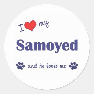 I Love My Samoyed (Male Dog) Classic Round Sticker