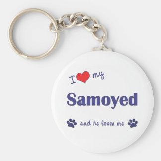 I Love My Samoyed (Male Dog) Keychain
