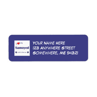 I Love My Samoyed (Male Dog) Custom Return Address Label