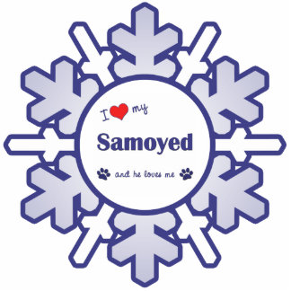I Love My Samoyed (Male Dog) Photo Sculpture