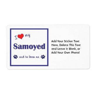 I Love My Samoyed (Male Dog) Shipping Labels
