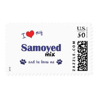 I Love My Samoyed Mix (Male Dog) Postage