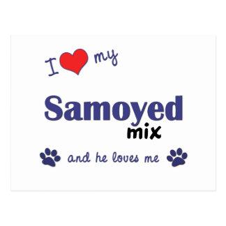 I Love My Samoyed Mix (Male Dog) Postcard