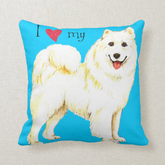 I Love my Samoyed Throw Pillows