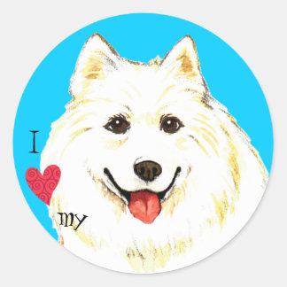 I Love my Samoyed Round Stickers