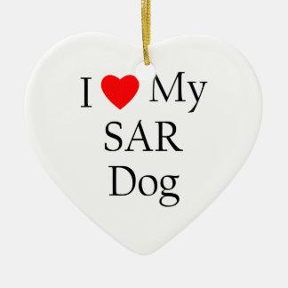 I Love My SAR Dog Ceramic Ornament