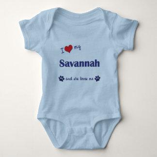 I Love My Savannah (Female Cat) Baby Bodysuit