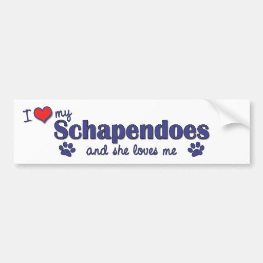 I Love My Schapendoes (Female Dog) Bumper Sticker