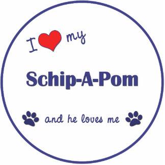I Love My Schip-A-Pom (Male Dog) Statuette