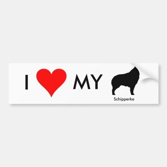 I Love My Schipperke Bumper Sticker 2