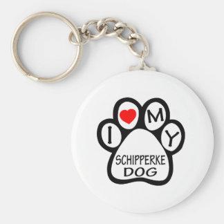 I Love My Schipperke Dog Keychain