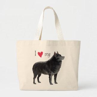 I Love my Schipperke Large Tote Bag