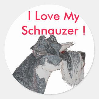 I Love My Schnauzer Classic Round Sticker