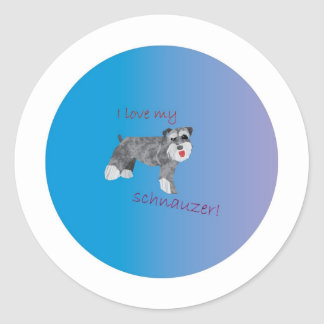 I love my schnauzer classic round sticker