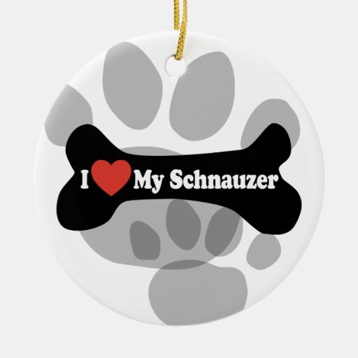 I Love My Schnauzer - Dog Bone Ceramic Ornament