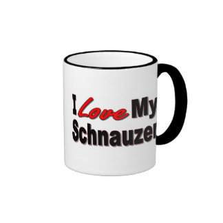 I Love My Schnauzer Dog Gifts and Apparel Ringer Mug