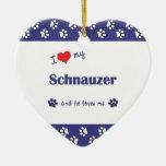 I Love My Schnauzer (Male Dog) Christmas Tree Ornament
