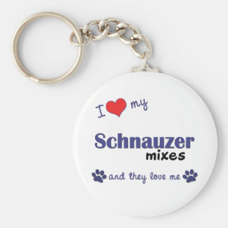 I Love My Schnauzer Mixes (Multiple Dogs) Key Chain