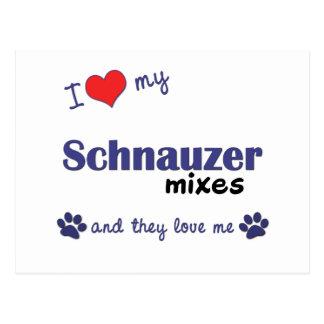 I Love My Schnauzer Mixes (Multiple Dogs) Postcard