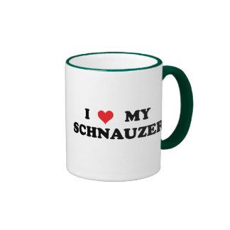 I Love My Schnauzer Ringer Mug