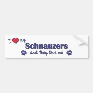 I Love My Schnauzers (Multiple Dogs) Bumper Sticker