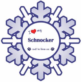 I Love My Schnocker (Male Dog) Photo Sculpture Ornament