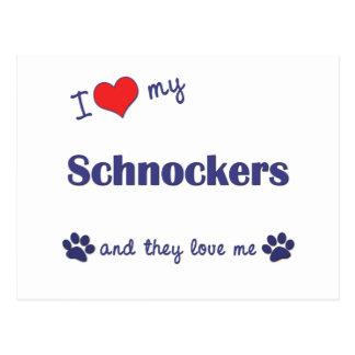 I Love My Schnockers (Multiple Dogs) Postcard
