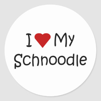 I Love My Schnoodle Dog Breed Lover Gifts Classic Round Sticker