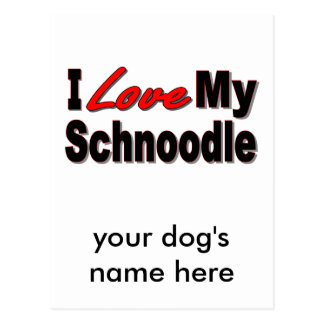 I Love My Schnoodle Dog Gifts and Apparel Postcard