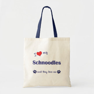 I Love My Schnoodles (Multiple Dogs) Tote Bag