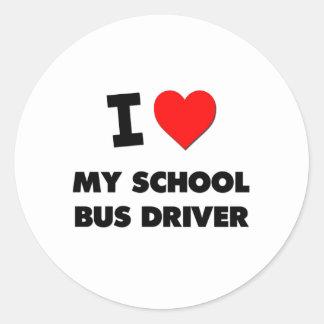 I love My School Bus Driver Round Sticker