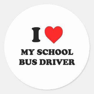 I love My School Bus Driver Round Stickers