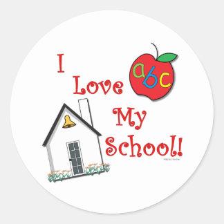 I love my school! classic round sticker
