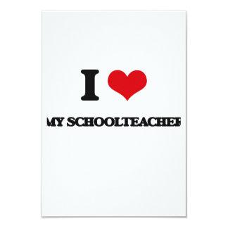 I Love My Schoolteacher 3.5x5 Paper Invitation Card