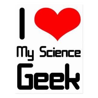 I love my science geek postcard