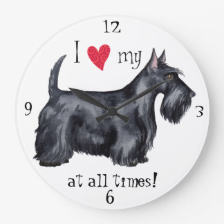 I Love my Scottie Large Clock