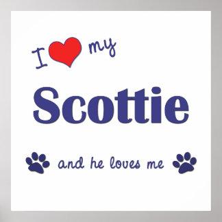 I Love My Scottie (Male Dog) Poster
