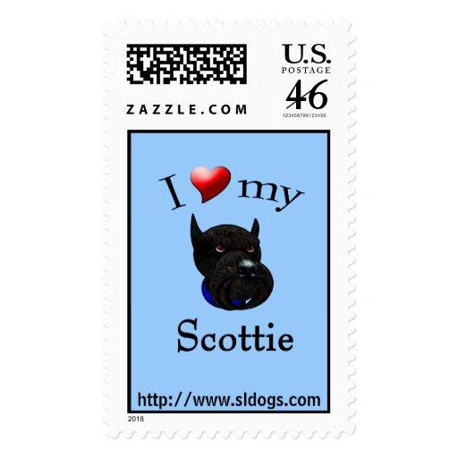 I Love My Scottie Postage Stamp