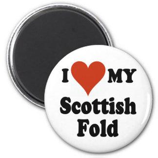 I Love My Scottish Fold Cat Merchandise 2 Inch Round Magnet