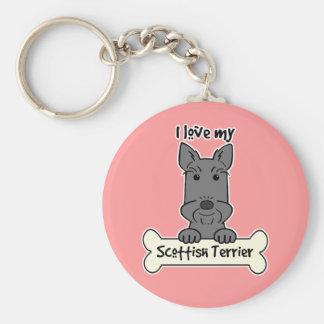 I Love My Scottish Terrier Basic Round Button Keychain