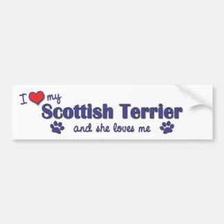 I Love My Scottish Terrier (Female Dog) Car Bumper Sticker