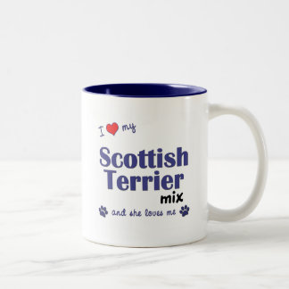 I Love My Scottish Terrier Mix (Female Dog) Two-Tone Coffee Mug