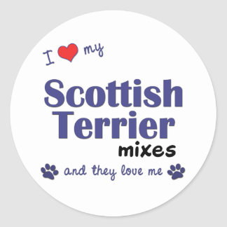 I Love My Scottish Terrier Mixes (Multiple Dogs) Classic Round Sticker