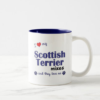 I Love My Scottish Terrier Mixes (Multiple Dogs) Two-Tone Coffee Mug