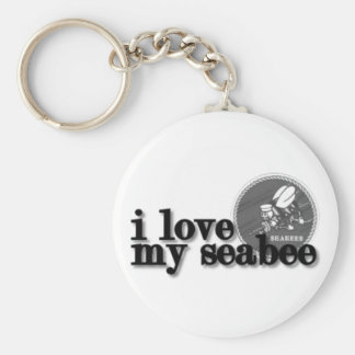I love my Seabee with Seabee logo Key Chains