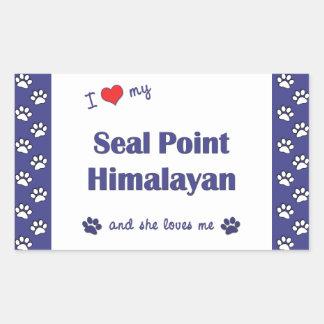 I Love My Seal Point Himalayan (Female Cat) Rectangular Sticker