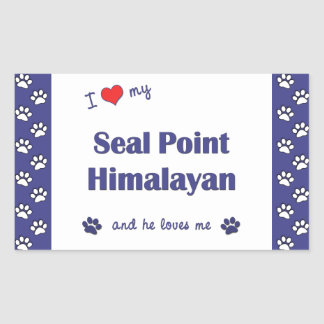 I Love My Seal Point Himalayan (Male Cat) Rectangular Sticker