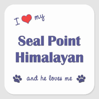 I Love My Seal Point Himalayan (Male Cat) Square Sticker