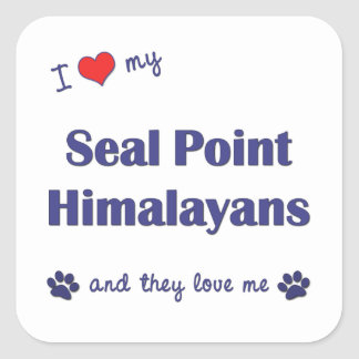 I Love My Seal Point Himalayans (Multiple Cats) Square Sticker