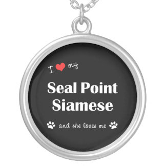 I Love My Seal Point Siamese (Female Cat) Round Pendant Necklace